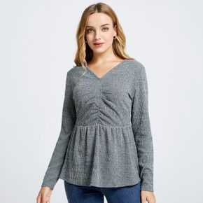 V-neck Long-sleeve Ruched Tiered T-shirt
