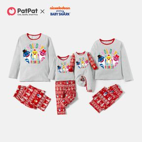 Baby Shark Christmas Graphic Top and Allover Pants Pajamas Sets(Flame Resistant)
