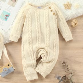 Baby Boy Solid Cable Knit Long-sleeve Jumpsuit