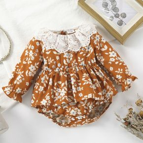 Baby Girl Ruffle Collar All Over Floral Print Brown Long-sleeve Romper