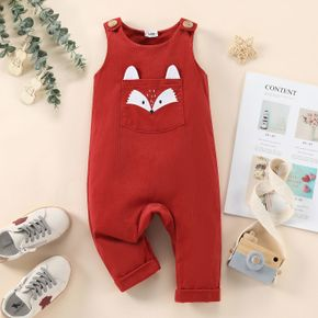 100% Cotton Baby Girl Cartoon Fox Pattern Red Overalls with Pocket