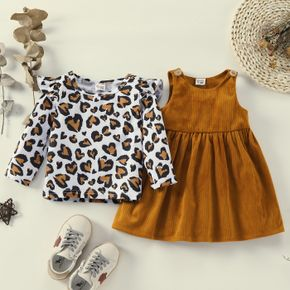 2pcs Baby Girl Leopard Ruffle Long-sleeve Top and Solid Overall Dress Set