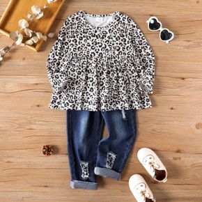 2-piece Toddler Girl Leopard Print Long-sleeve Top and Patchwork Ripped Denim Jeans Set