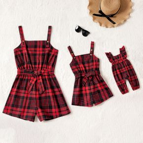 Christmas Red Plaid Sleeveless Belted Romper Shorts for Mom and Me