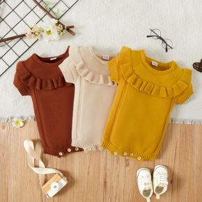 Baby Girl Solid Color Ruffled Short-sleeve Knit Romper