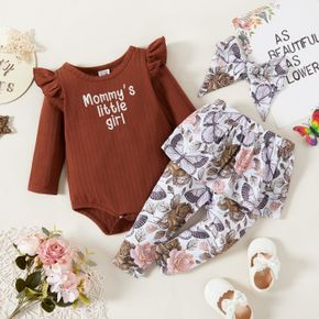 3pcs Baby Girl Letter Embroidered Solid Ribbed Long-sleeve Romper and Floral Print Skirted Trousers Set