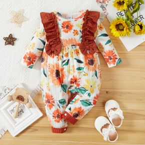Baby Girl All Over Sunflower Floral Print Long-sleeve Ruffle Bowknot Jumpsuit