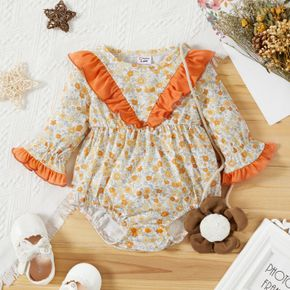 Baby Girl All Over Floral Print Bell Sleeve Splicing Ruffle Romper
