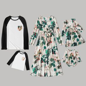 Family Matching Floral Pint Long-sleeve Belted Dresses and Raglan-sleeve T-shirts Sets