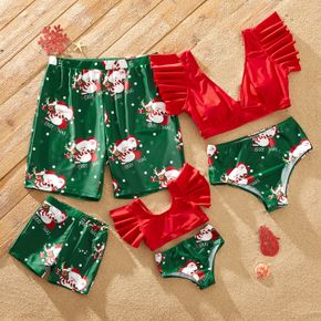 Christmas All Over Santa Print Family Matching Ruffle-sleeve Crop Tops and Shorts Swimsuits