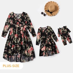 All Over Floral Print Black V Neck Long-sleeve Dress for Mom and Me