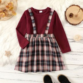 2-piece Kid Girl Long-sleeve Red Top and Plaid Suspender Skirt Set