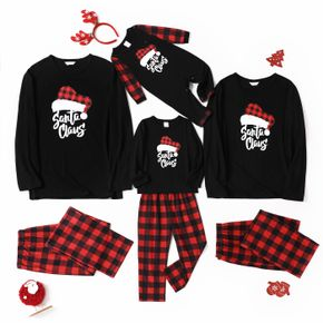 Christmas Hat and Letter Print Black Family Matching Long-sleeve Plaid Pajamas Sets (Flame Resistant)
