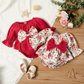 Baby Girl Solid/Floral Print Long-sleeve Bowknot Romper