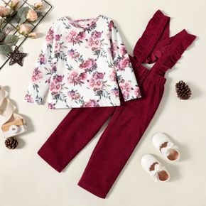 2-piece Toddler Girl Floral Print Long-sleeve Tee and Ruffled Overalls Set
