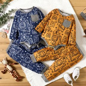 2pcs Baby Boy All Over Graphic Print Long-sleeve Romper and Trousers Set