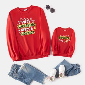 Colorful Letter Print Red Crewneck Long-sleeve Sweatshirts for Dad and Me