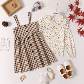 2-piece Kid Girl Ruffle Collar Floral Print Long-sleeve Top and Plaid Button Design Overall Dress Set