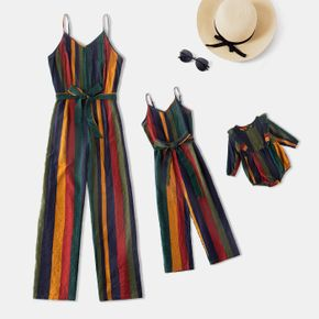 Colorful Stripe Cami Belted Jumpsuit for Mom and Me