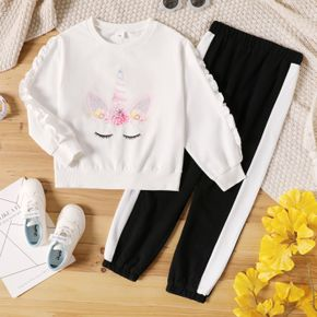 2-piece Kid Girl Unicorn Cartoon Print Ruffled White Pullover and Colorblock Pants Casual Set