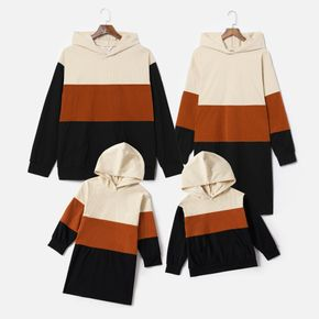 Family Matching Color Block Long-sleeve Hoodie Dresses and Tops Sets