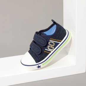 Toddler / Kid Embroidered Letter Royal Blue Velcro Closure Canvas Shoes