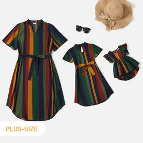 Colorful Stripe Long-sleeve Belted Dress for Mom and Me