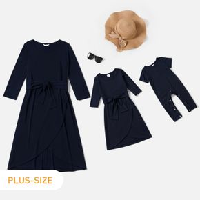 Crewneck Short-sleeve Wrap Belted Dress for Mom and Me