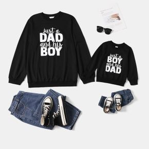 Letter Print Black Long-sleeve Crewneck Sweatshirts for Dad and Me