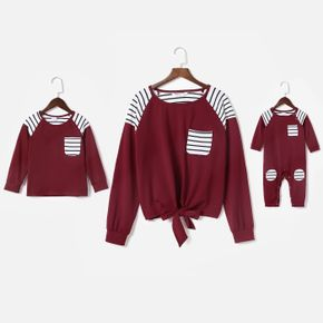 Contrast Stripe Long-sleeve Sweatshirts for Mom and Me