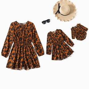 Allover Leopard Print Long-sleeve Romper Shorts for Mom and Me