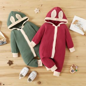 100% Cotton Crepe Baby 3D Ears Hooded Long-sleeve Jumpsuit