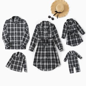 Family Matching Gingham Long-sleeve Dresses and Shirts Sets