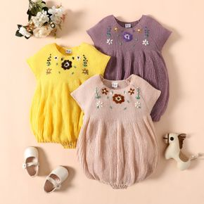 Baby Girl Floral Embroidered Short-sleeve Knit Romper