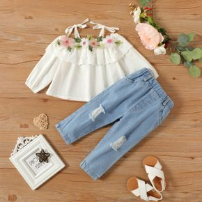 2-piece Baby Girl 100% Cotton Floral Embroidered Flounce Off Shoulder Long-sleeve Strap Top and Ripped Denim Jeans Set