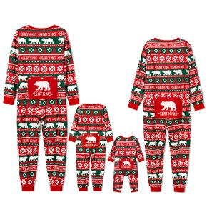 Christmas Polar Bear and Letter All Over Print Red Family Matching Long-sleeve Onesies Pajamas Sets (Flame Resistant)