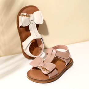 Toddler / Kid Solid Color Bow Decor Velcro Sandals