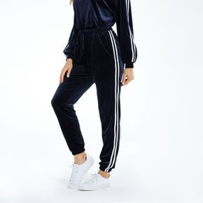 Striped Side Contrast Trim Casual Pants