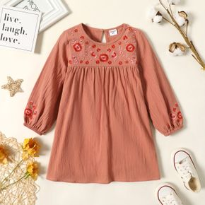Toddler Girl 100% Cotton Floral Embroidered Long-sleeve Dress