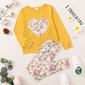 2-piece Kid Girl Floral Print Heart Pattern  Pullover Sweatshirt and Pants Set