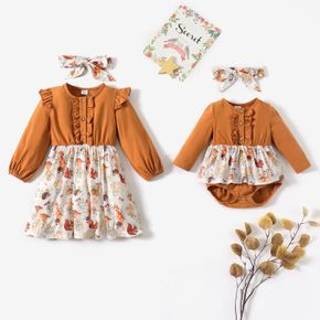 Sibling Matching Contrast Animal Print Long-sleeve Dress and Romper and Headband Sister Set