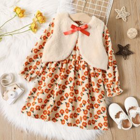 2-piece Toddler Girl Floral Print Round-collar Long-sleeve Dress and Bowknot Fuzzy Vest Coat Set