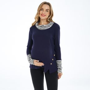 Maternity Thanksgiving Contrast Striped Round Neck Long-sleeve T-shirt