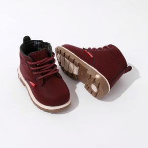 Toddler / Kid Burgundy Color Perforated Lace-up Side Zipper Boots