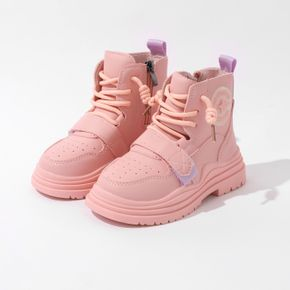 Toddler / Kid Pink Perforated Lace-up Velcro Mesh Boots