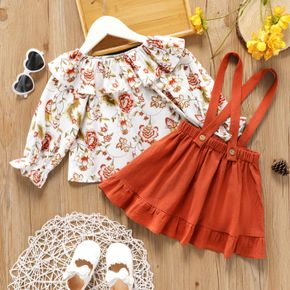 2-piece Toddler Girl Floral Print Flounce Long-sleeve Top and Ruffled Suspender Skirt Set