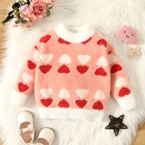Baby All Over Love Heart Pattern Turtleneck Long-sleeve Fuzzy Knitted Sweater