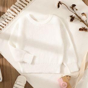 Baby Solid Long-sleeve Knitted Sweater Pullover