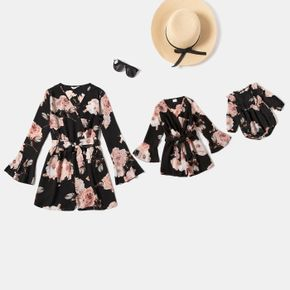 Floral Print Long-sleeve Wrap Belted Romper Shorts for Mom and Me