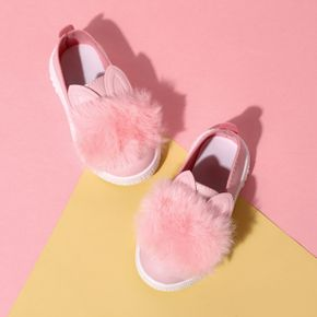 Toddler Pink Cartoon Fluffy Bunny Canvas Shoes